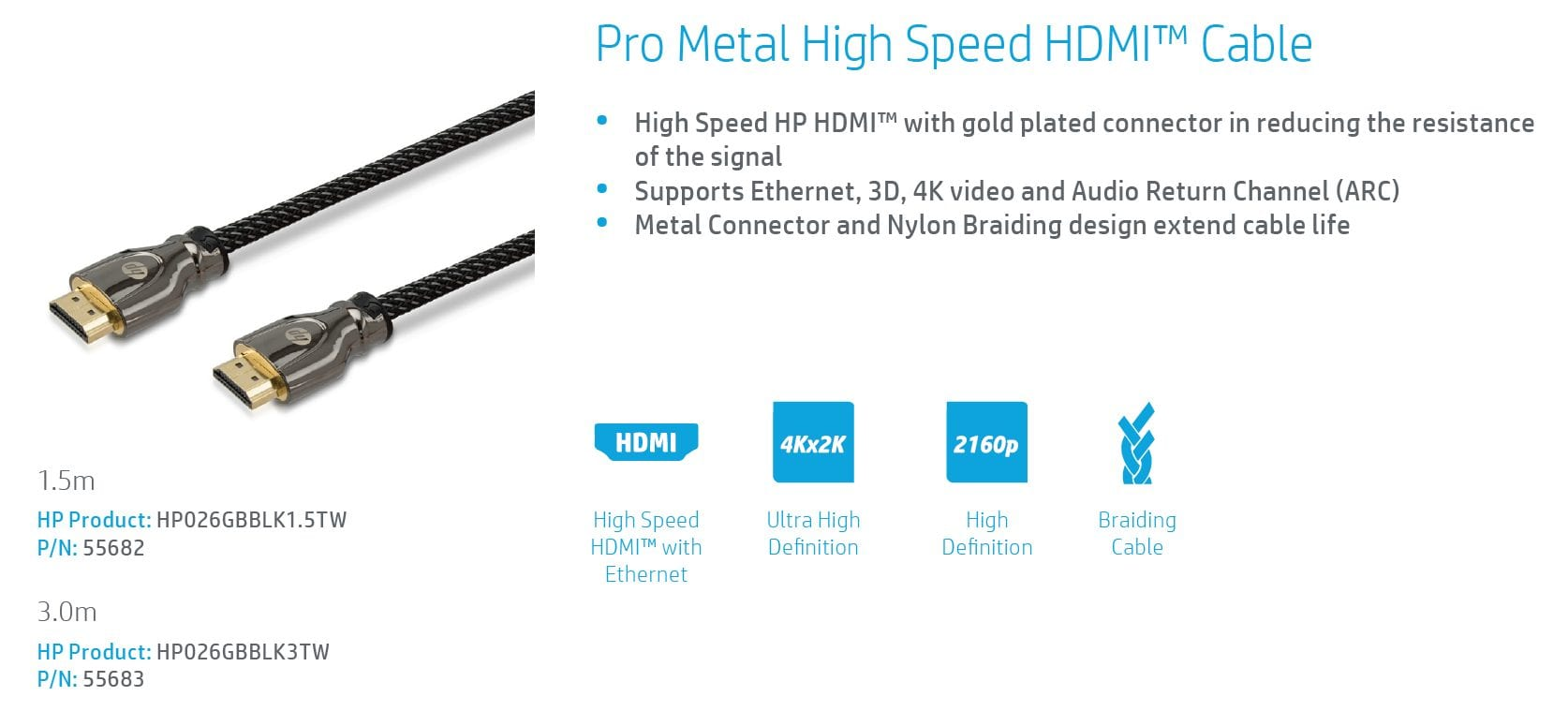 HP PRO HDMI to HDMI Cable 4