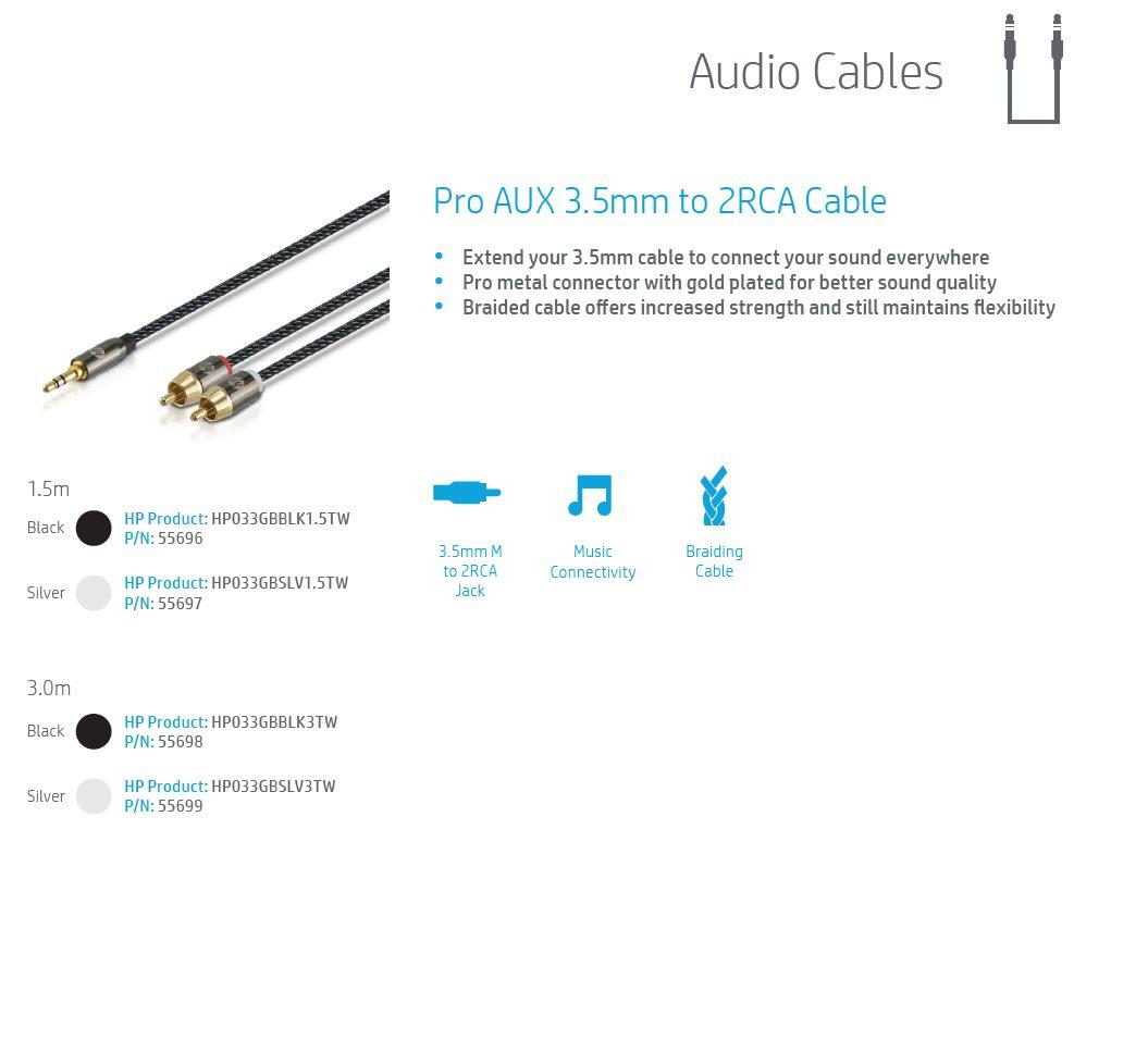 HP Pro AUX 3.5mm 2RCA Cable SLV 3.0m 5