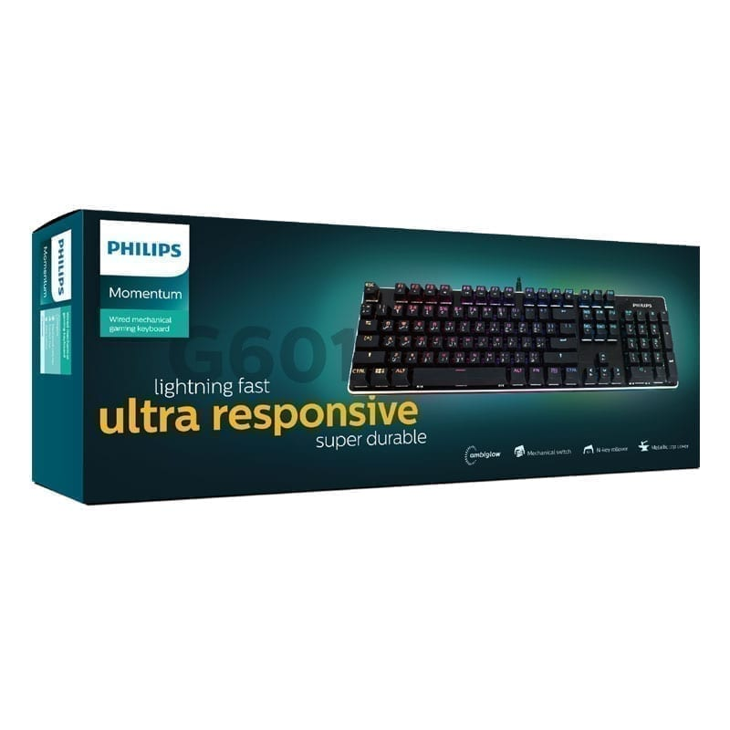 Philips Bundle Package: Momentum Wired Mechanical Gaming Keyboard Full Size SPK8601B + Philips Professional RGB Gaming Mouse SPK9403B 10