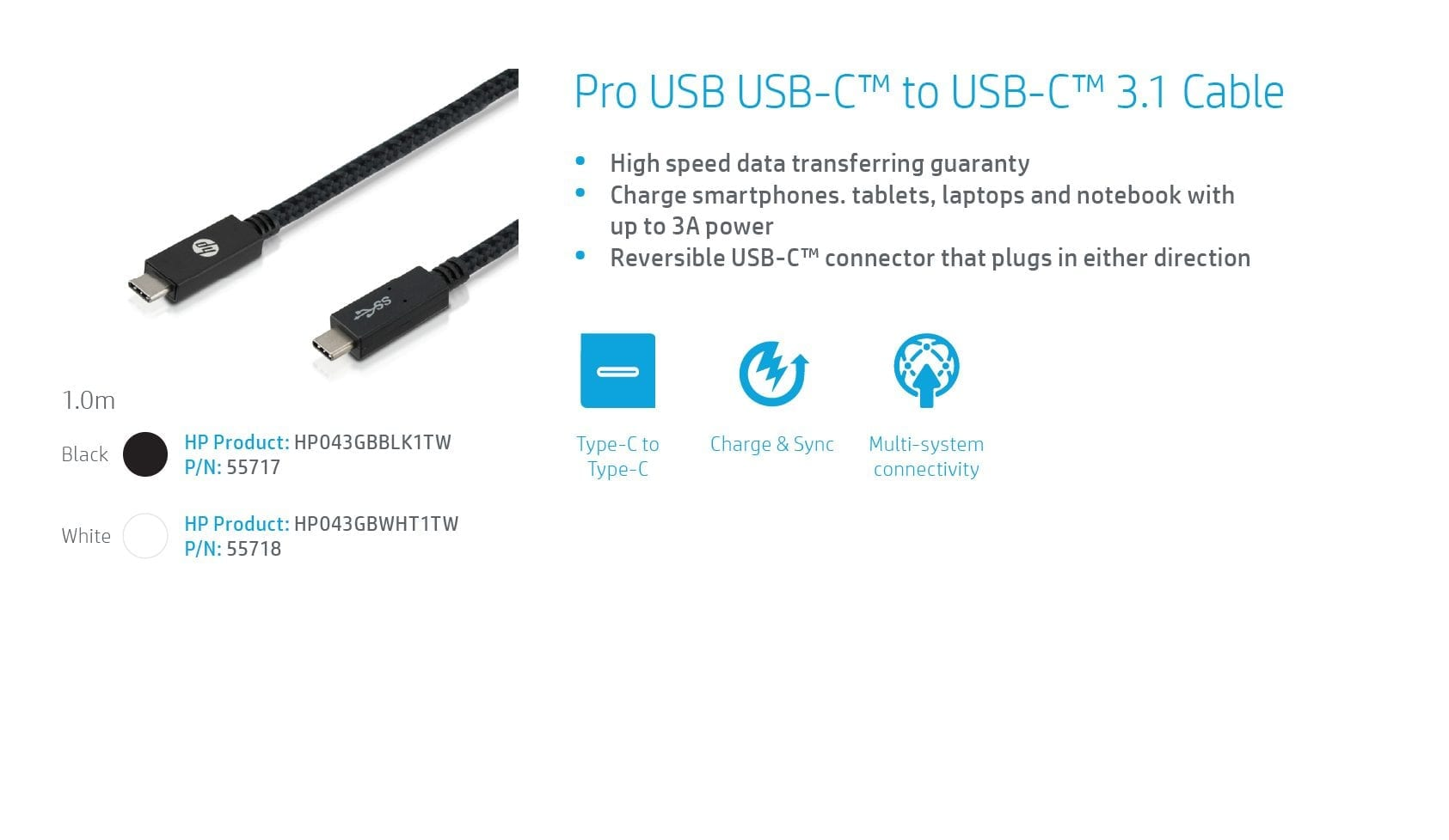 HP Pro USB-C TO USB-C PD v3.1 BLK 1.0m 7