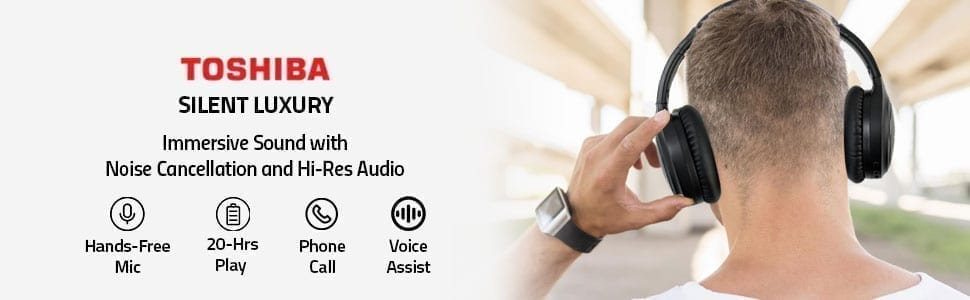 Toshiba Noise-Cancelling Wireless Headphones - RZE-BT1200H 10