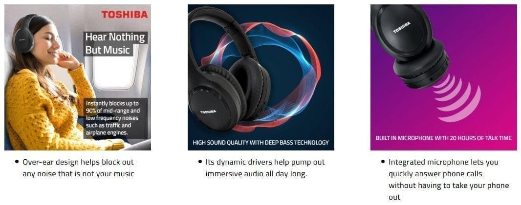Toshiba Noise-Cancelling Wireless Headphones - RZE-BT1200H 11