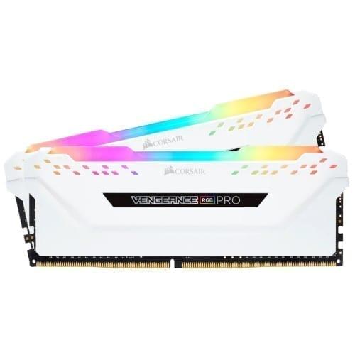 Corsair VENGEANCE® RGB PRO 32GB (2 x 16GB) DDR4 DRAM 3200MHz C16 Memory Kit — White - CMW32GX4M2C3200C16W 3