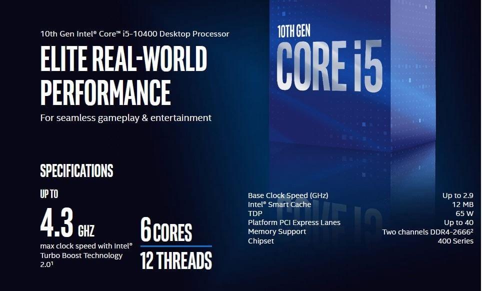 Intel Core i5-10400 Comet Lake 6-Core 2.9 GHz LGA 1200 65W BX8070110400 Desktop Processor Intel UHD Graphics 630 10