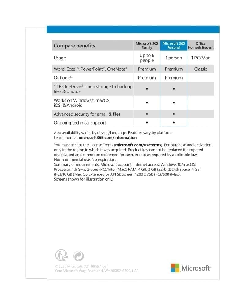 Microsoft 365 Personal All Languages Subscription 1YR - Product Key (Delivery by Email) - QQ2-00005 3