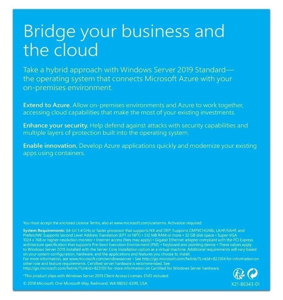 Microsoft Windows Server 2019 Standard - Base License and Media - 16 Core - P73-07788 3