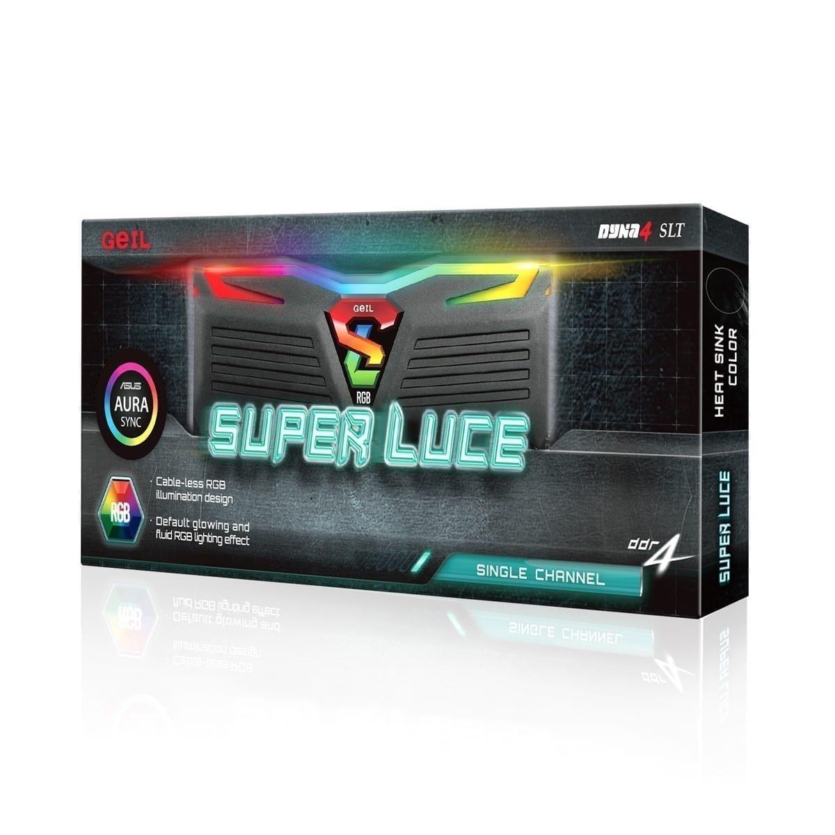 GeIL SUPER LUCE RGB Sync 8GB (8GB*1) DDR4 RAM 2666MHz RGB Black - GLS48GB2666C19SC 1