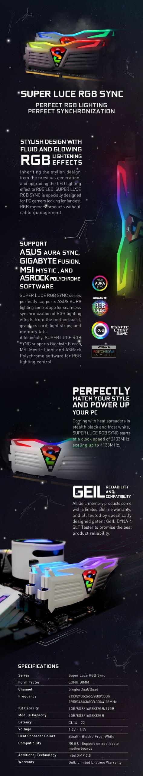 GeIL SUPER LUCE RGB Sync 8GB (8GB*1) DDR4 RAM 2666MHz RGB Black - GLS48GB2666C19SC 5