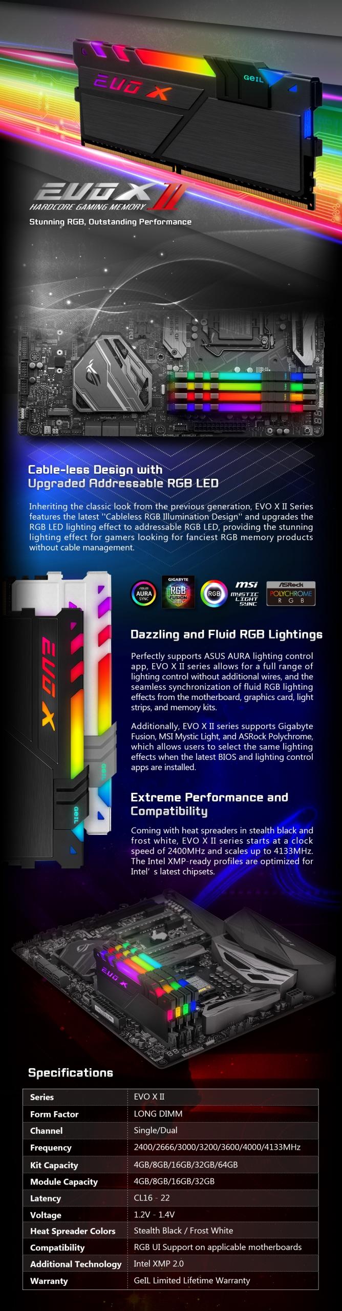GeIL EVO X II 16GB (8GB*2) DDR4 RAM 3000MHz RGB BLACK - GEXSB416GB3000C16AD 5