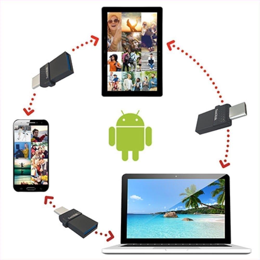 SanDisk Ultra Dual Port USB-C/USB OTG Flash Drive - Black 8