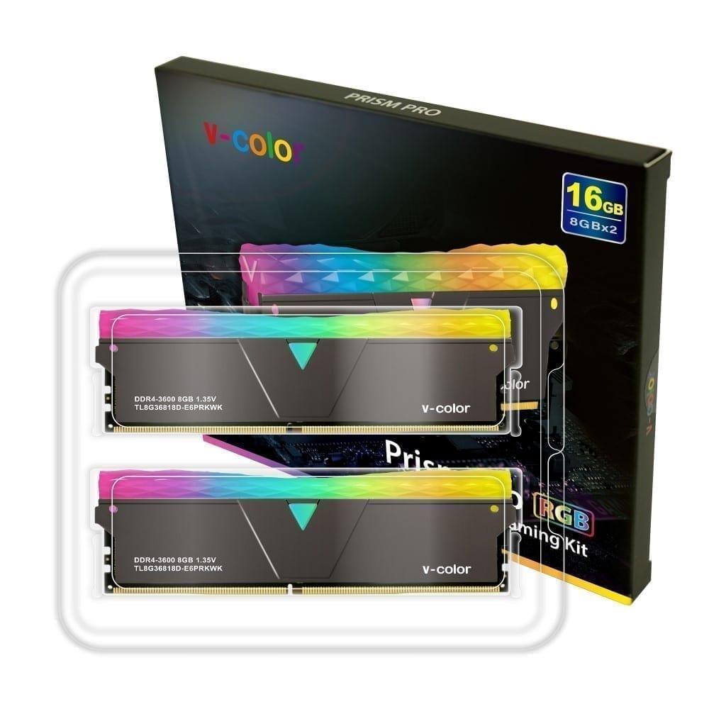 V-Color Prism Pro RGB 16GB(2x8GB) 3600MHz DDR4 RAM - (TL8G36818D-E6PRKWK) 4
