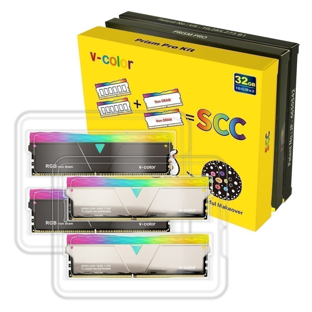 V-Color Prism Pro RGB Kit 32GB(2x16GB) 3200MHz DDR4 RAM with RGB Filler Kit -Mirror Finish- (SCC-TL1632816A-E6PRSWK) 3