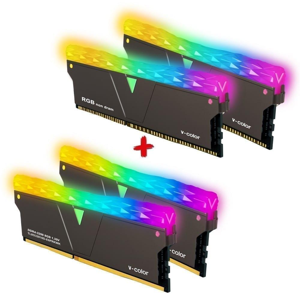 V-Color Prism Pro RGB Kit 16GB(2x8GB) 3200MHz DDR4 RAM with RGB Filler Kit -Jet Black- (SCC-TL8G32816C-E6PRKWK) 1