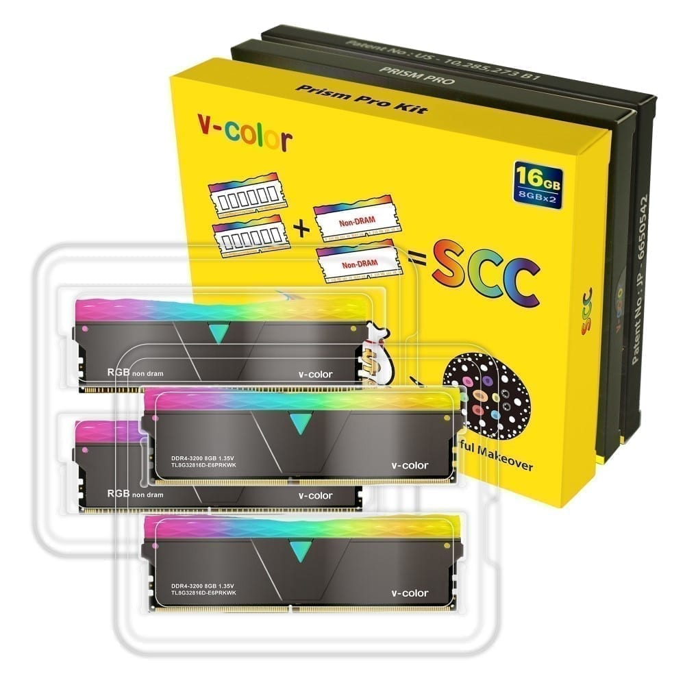 V-Color Prism Pro RGB Kit 16GB(2x8GB) 3200MHz DDR4 RAM with RGB Filler Kit -Jet Black- (SCC-TL8G32816C-E6PRKWK) 3