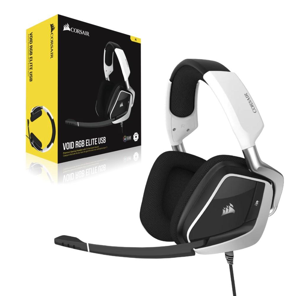 Corsair VOID RGB ELITE USB Premium Gaming Headset with 7.1 Surround Sound — White 9