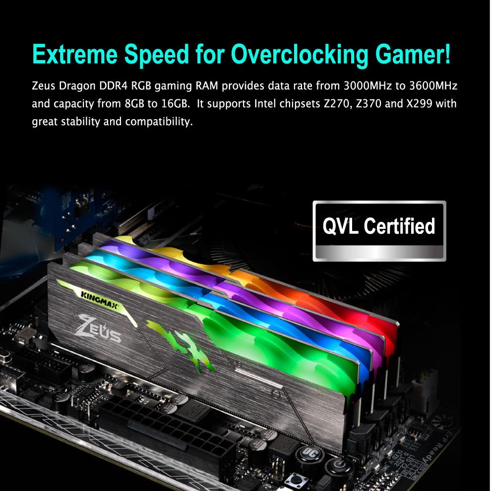 Kingmax Zeus Dragon DDR4 RGB Gaming RAM 16GB 3200Mhz Single 4