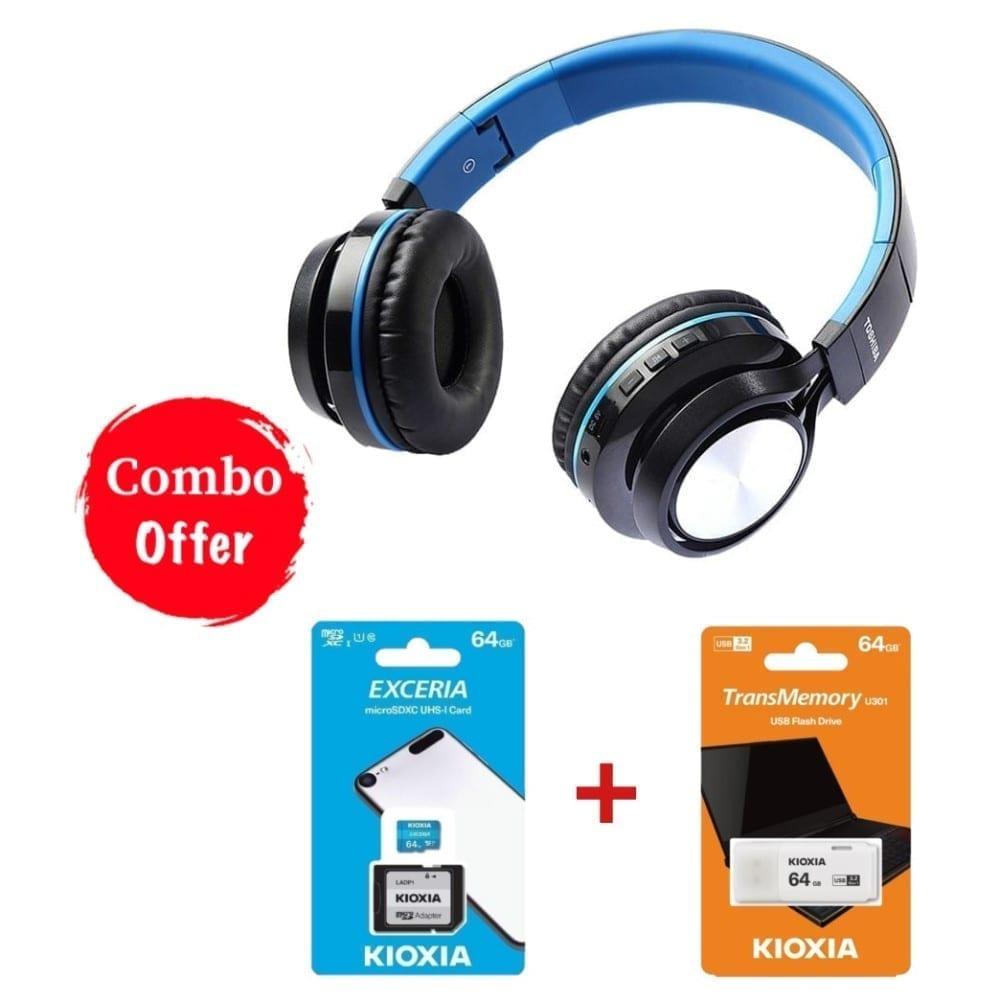 Toshiba Combo Foldable Wireless Headphone RZE-BT200 + 64GB USB + 64 MicroSD 1