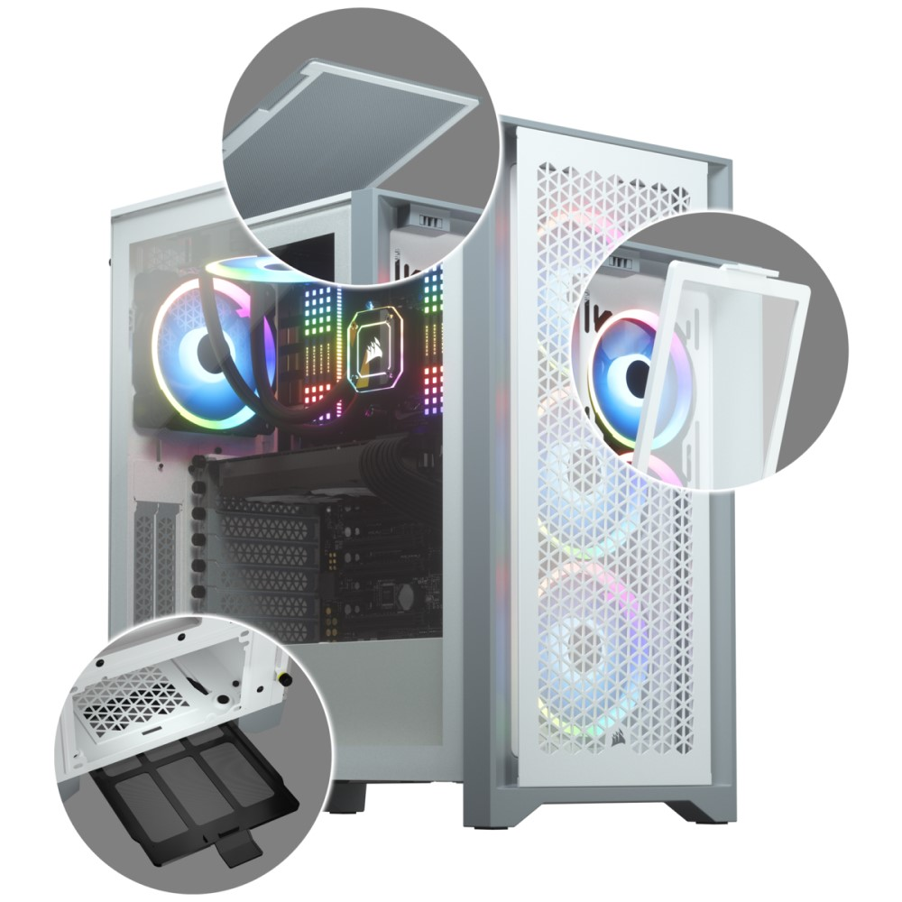 Corsair 4000D AIRFLOW Tempered Glass Mid-Tower ATX Case — White 3