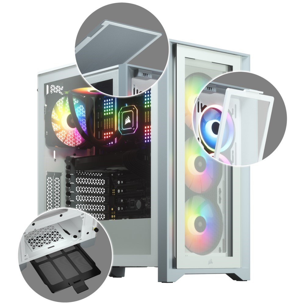 Corsair iCUE 4000X RGB Tempered Glass Mid-Tower ATX Case — White 7
