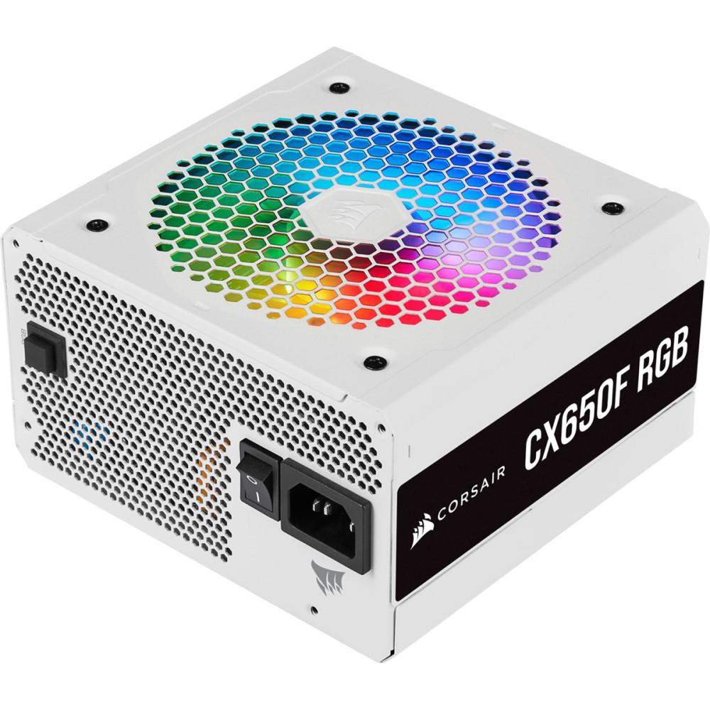 Corsair CX Series CX650F RGB White — 650 Watt 80 Plus Bronze Certified Fully Modular RGB White PSU (UK) 1