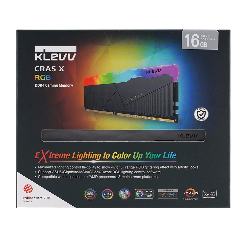 Klevv CRAS X RGB 16GB (2x8GB) DDR4 Gaming RAM 3200MHz 7