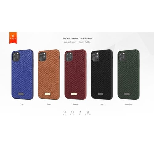 Kajsa Genuine Leather (Pearl Pattern) Back Case for iPhone 11 Series 2