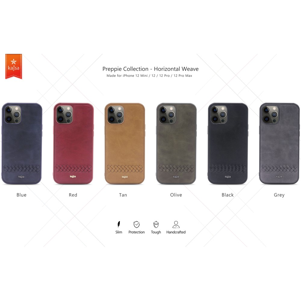 Kajsa Preppie Collection (Horizontal Weave) Back Case for iPhone 12 Series 1