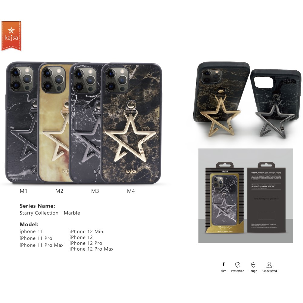 Kajsa Starry Collection - Marble Pattern Back Case for iPhone 12 Series 2