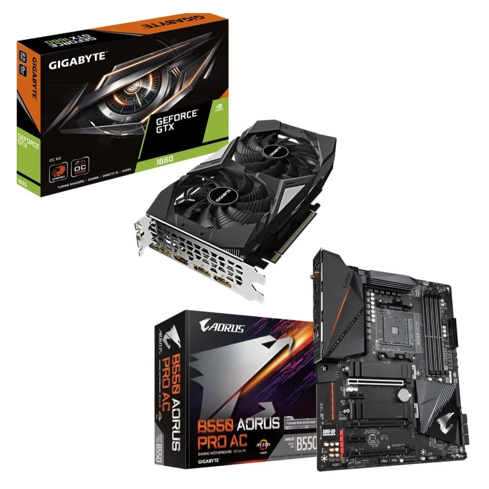 Gigabyte GeForce GTX 1660 OC 6G + B550 AORUS PRO AC (rev. 1.x) – AMD B550 Chipset 1