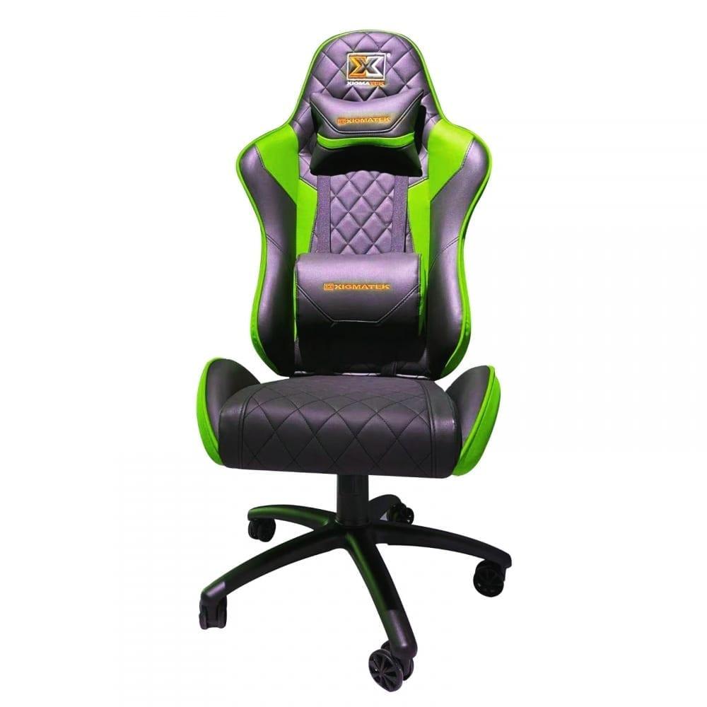 Xigmatek Hairpin Green Gaming Chair (Black & Green, 2D Armrests, Butterfly Mechanism, Class 4 Gas Lift, Headrest & Lumbar Pillow) EN46683 4