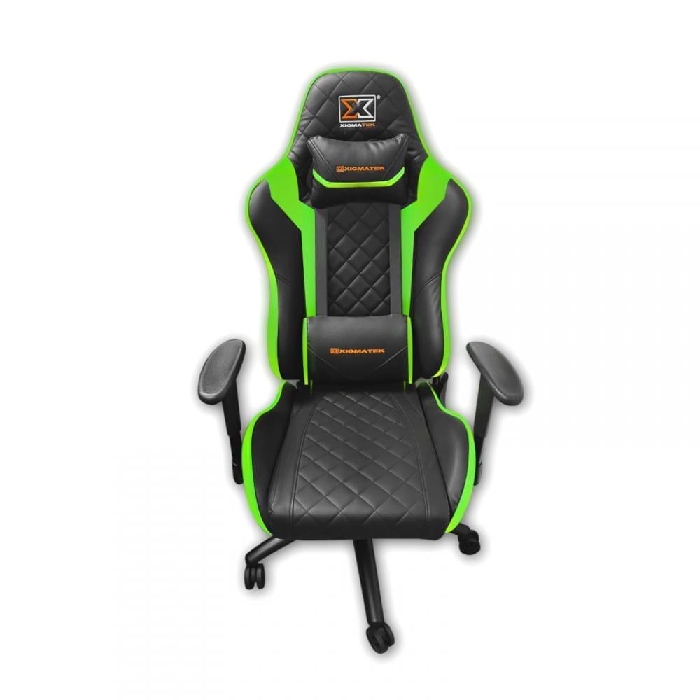 Xigmatek Hairpin Green Gaming Chair (Black & Green, 2D Armrests, Butterfly Mechanism, Class 4 Gas Lift, Headrest & Lumbar Pillow) EN46683 1