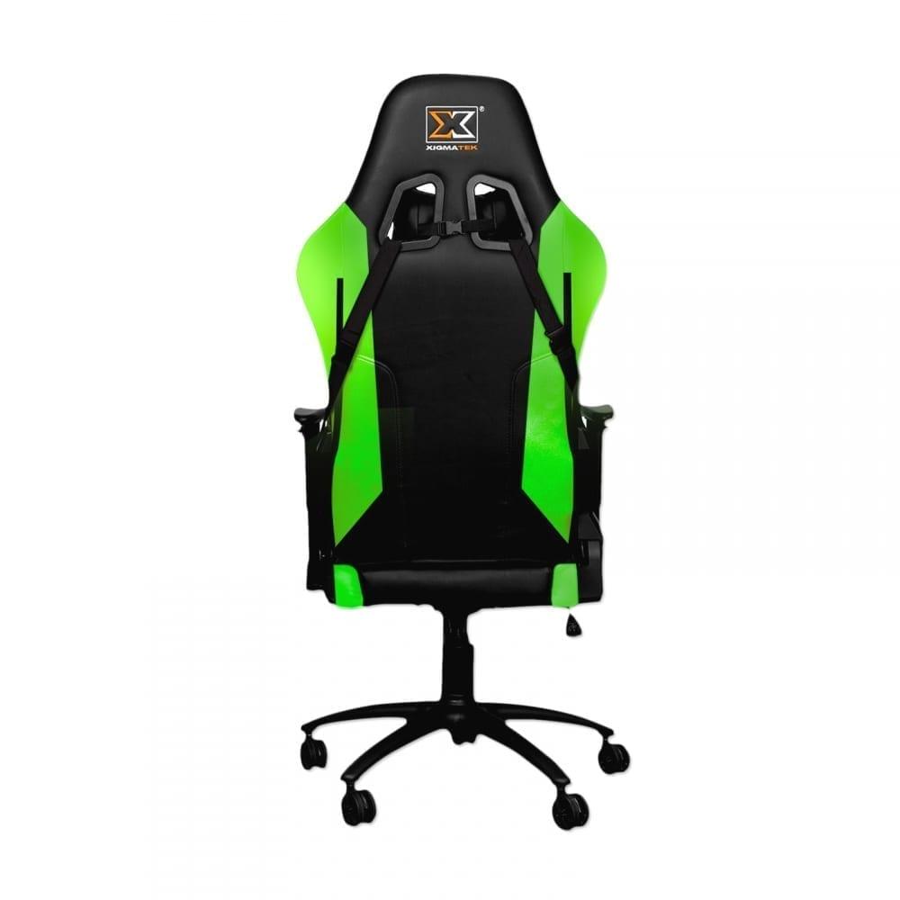 Xigmatek Hairpin Green Gaming Chair (Black & Green, 2D Armrests, Butterfly Mechanism, Class 4 Gas Lift, Headrest & Lumbar Pillow) EN46683 3