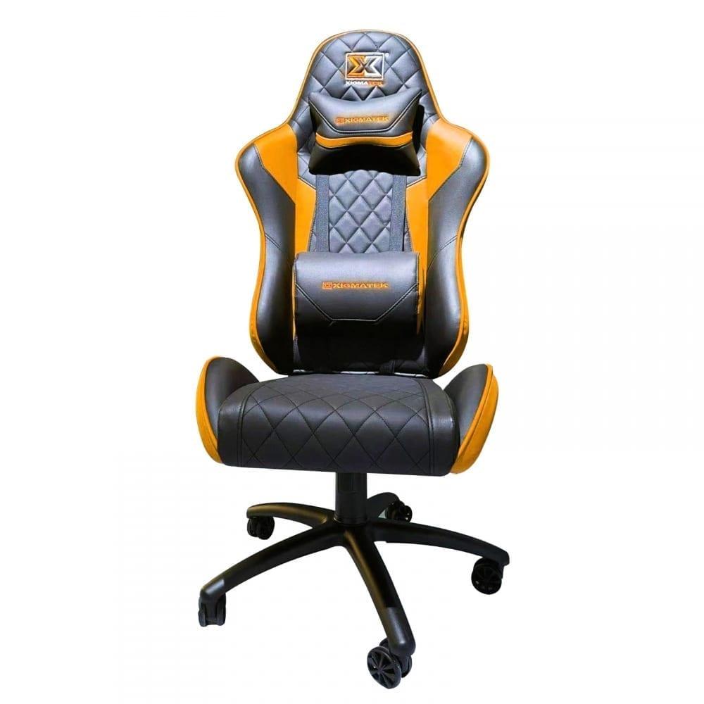 Xigmatek Hairpin Orange Gaming Chair (Black & Orange, 2D Armrests, Butterfly Mechanism, Class 4 Gas Lift, Headrest & Lumbar Pillow) EN46676 4