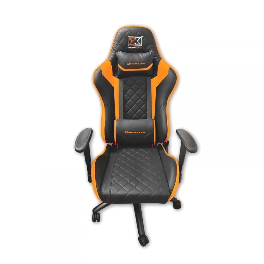 Xigmatek Hairpin Orange Gaming Chair (Black & Orange, 2D Armrests, Butterfly Mechanism, Class 4 Gas Lift, Headrest & Lumbar Pillow) EN46676 1