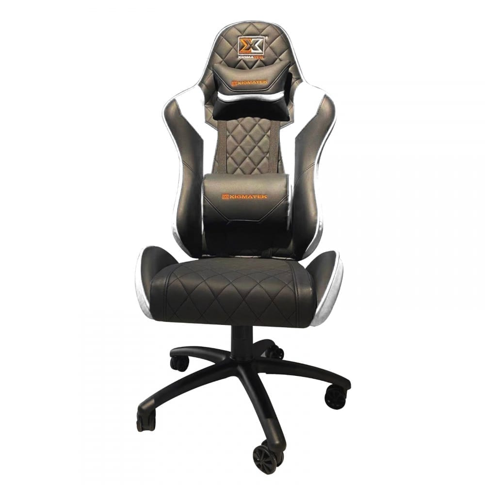 Xigmatek Hairpin White Gaming Chair (Black & White, 2D Armrests, Butterfly Mechanism, Class 4 Gas Lift, Headrest & Lumbar Pillow) EN46713 4