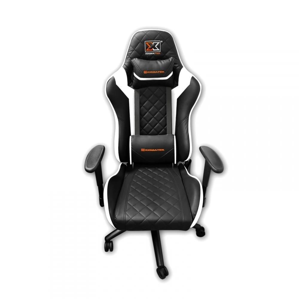 Xigmatek Hairpin White Gaming Chair (Black & White, 2D Armrests, Butterfly Mechanism, Class 4 Gas Lift, Headrest & Lumbar Pillow) EN46713 1
