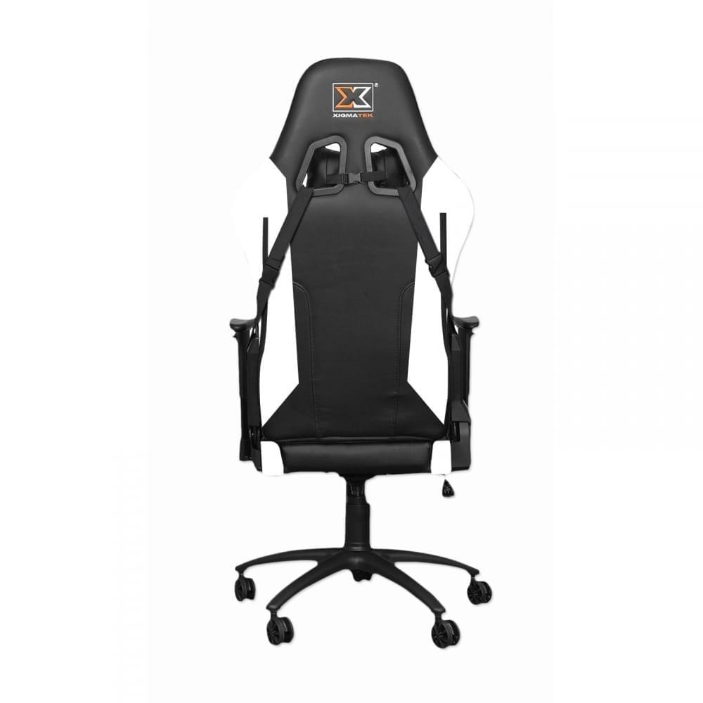Xigmatek Hairpin White Gaming Chair (Black & White, 2D Armrests, Butterfly Mechanism, Class 4 Gas Lift, Headrest & Lumbar Pillow) EN46713 3