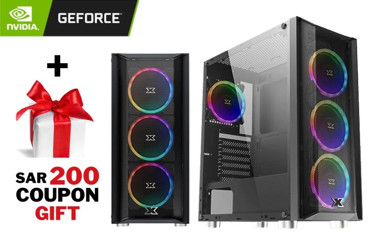 GeForce Gaming PC - XT GRIB Case, CORE I5-10400F BOX, 16GB DDR4, GeForce RTX 2060 Twin X2 6GB GDDR6, 256GB SSD, 1TB HDD + SAR 200 Gift Coupon 1