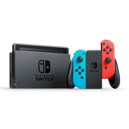 Nintendo Switch with Neon Blue and Neon Red Joy‑Con 3