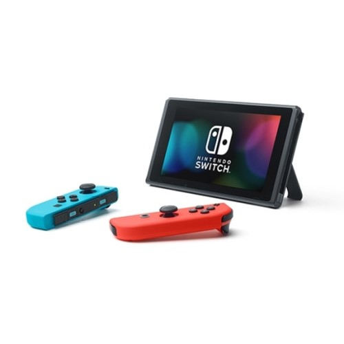 Nintendo Switch with Neon Blue and Neon Red Joy‑Con 4