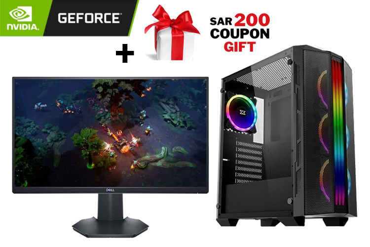 GeForce Gaming PC - Trident Case, CORE I5-10400F BOX, Dell 23.8″ Full HD Gaming Monitor, GeForce 6GB GTX 1660 SUPER TWIN X2, 240 GB SSD, 1TB HDD + SAR 200 Gift Coupon 1